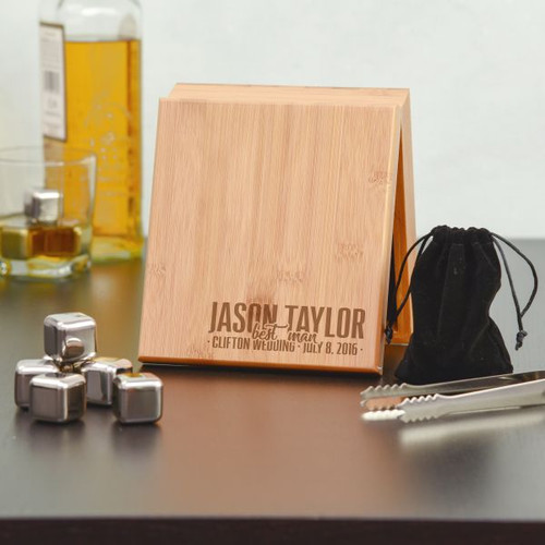 Personalized Groomsman Whiskey Stone Set