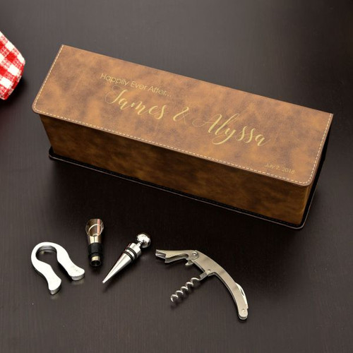 Happily Ever After Personalized Wine Box Available in Brown