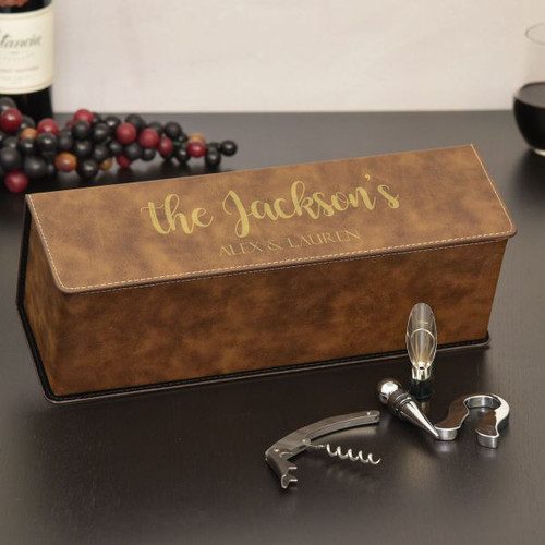 Family Name Personalized Wine Box Available in Brown