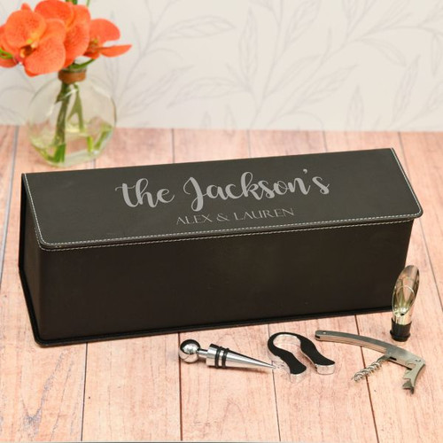 Family Name Personalized Wine Box Available in Black