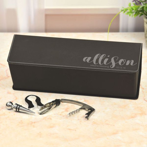 Bridal Partey Personalized Wine Box in Black