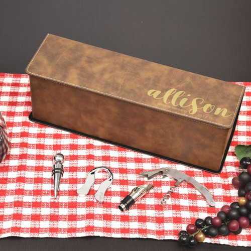 Bridal Partey Personalized Wine Box in Brown