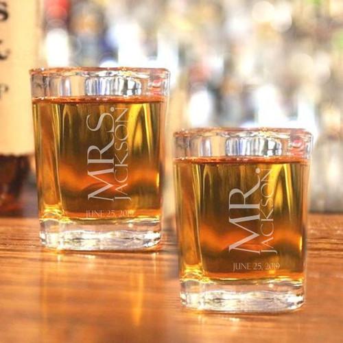 Mr. & Mrs. Personalized Shot Glass