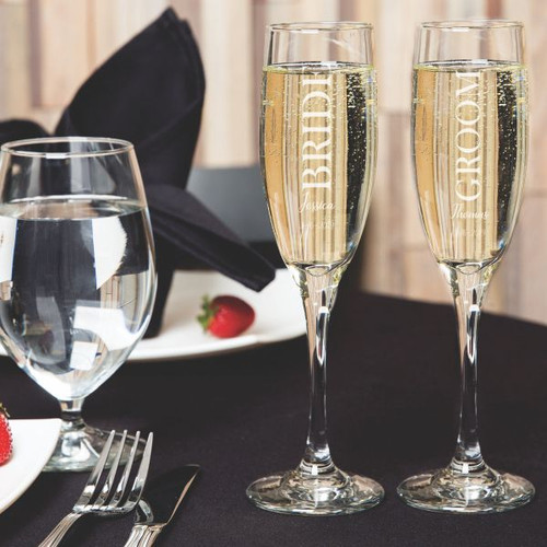 Bride & Groom Personalized Champagne Flutes