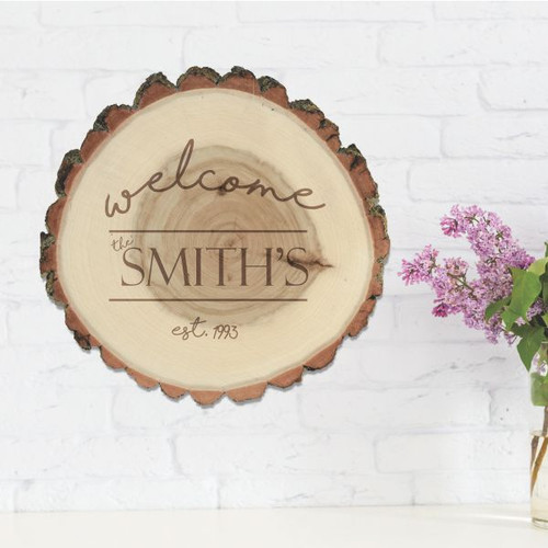 Welcome Personalized Rustic Log Sign