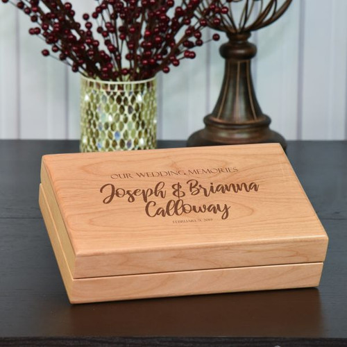Wedding keepsake box engraved with couples name and wedding date
