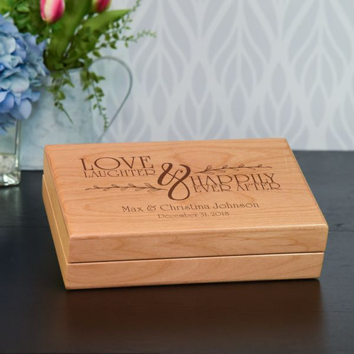 Wedding Memory box engraved with couple's first names, last name and wedding date