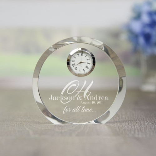 Personalized crystal clock is a great wedding gift or anniversary gift