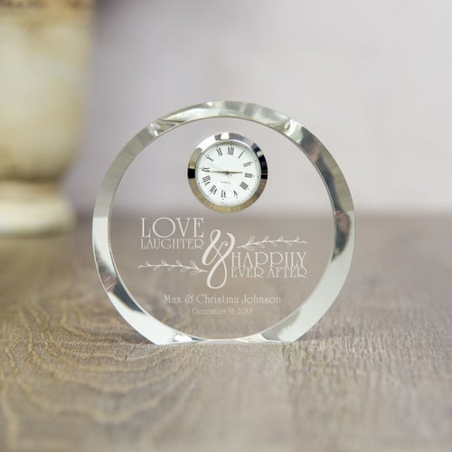 Personalized crystal clock is a timeless wedding gift
