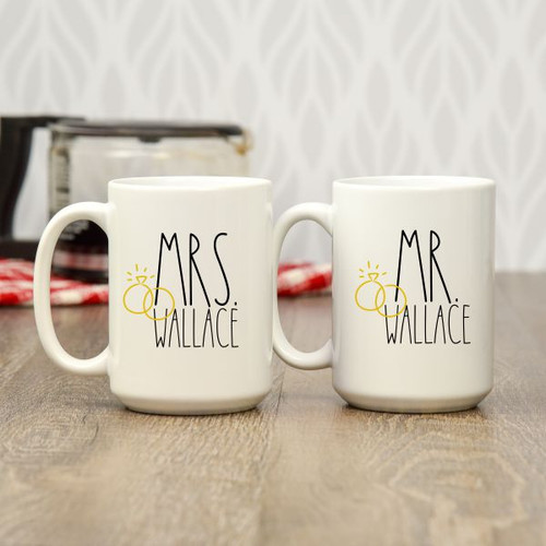 mr. & mrs. personalized coffee mugs