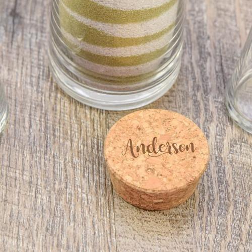 engraved cork stopper of unity sand vase