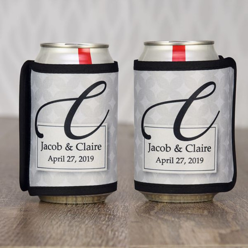 Personalized Wedding Day can koozies