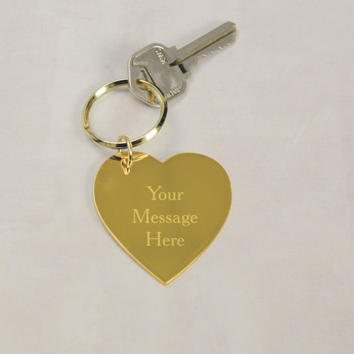 Personalized brass heart keychain