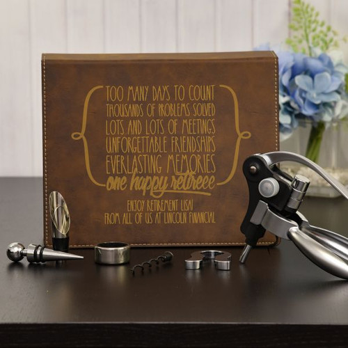 Personalized Wine Set shown in Brown