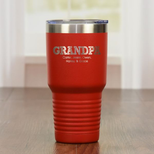 Personalized Grandpa Tumbler Red