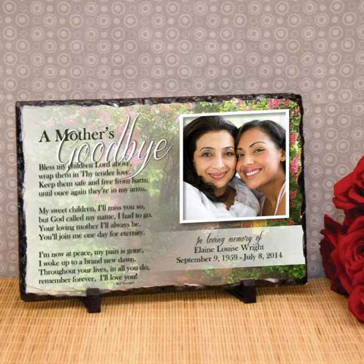 Plaque Large Slate Mothers Goodbye Image Plaque