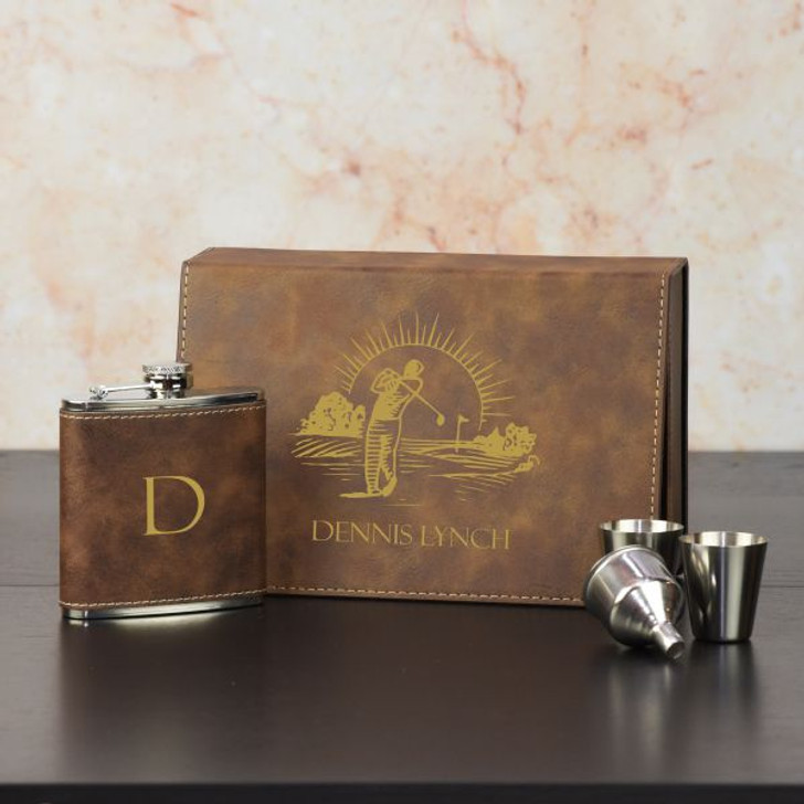 Golfers Personalized Flask Set in Brown