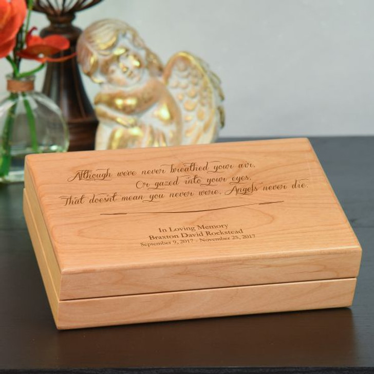 Angel Never Die Keepsake Box  engraved with name and dates