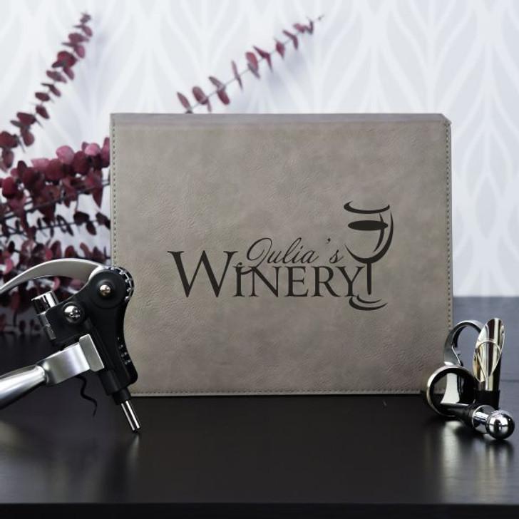 5 Piece Personalized Gray  Winery Set