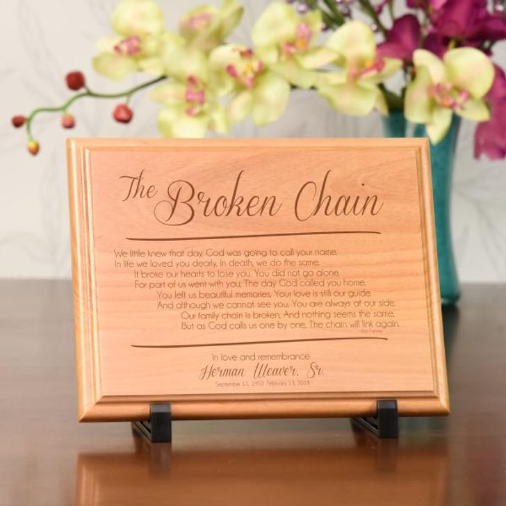 The Broken Chain Personalized Wood Memorial  Plaque
