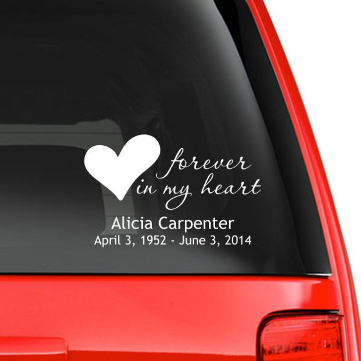 Forever in My Heart Personalized Memorial Car Decal