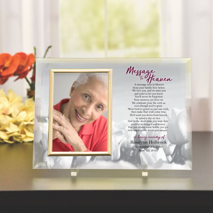 Message to Heaven Memorial Glass Photo Frame