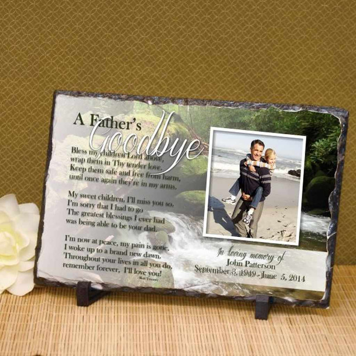 A Father's Goodbye Photo Plaque Personalized with Name & Dates