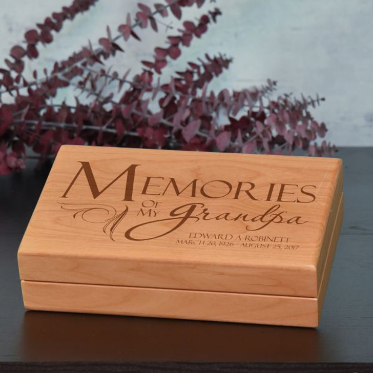 Memories of Grandpa Keepsake Box Personalized with Name and Dates