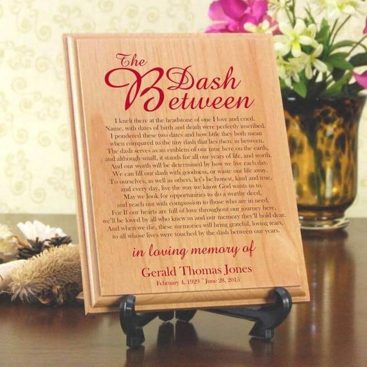The Dash Between Personalized Memorial Wood Plaque