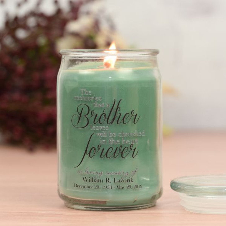 Forever My Brother Memorial Jar Candle in Eucalyptus Scent