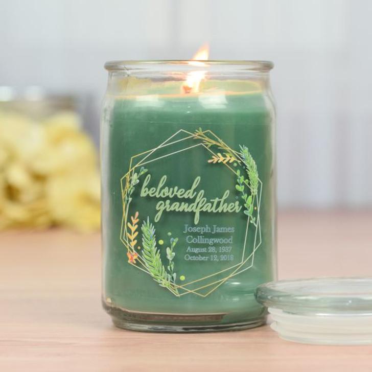 Beloved Grandfather Memorial Jar Candle in Eucalyptus Scent