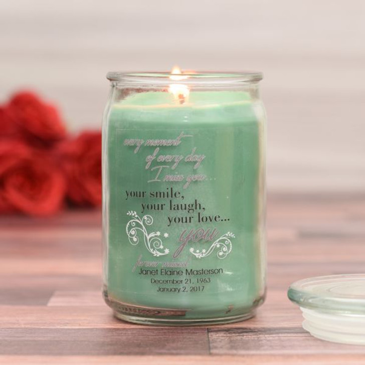 I Miss You Memorial Jar Candle in Eucalyptus Scent