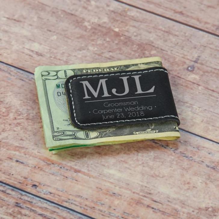 Monogram Groomsmen Money Clip in Black