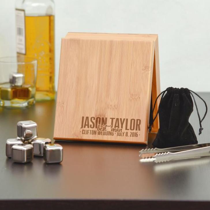 Personalized Groomsman Whiskey Stone Set
