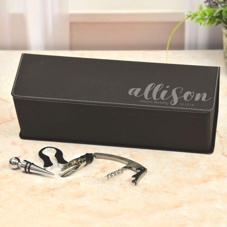Bridal Partey Personalized Wine Box in Black