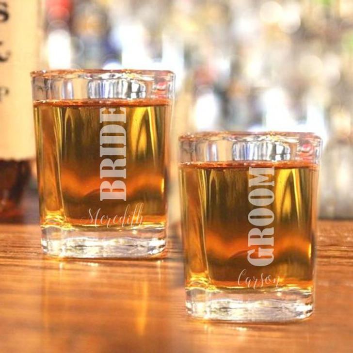 Personalized Bride & Groom Shot Glasses