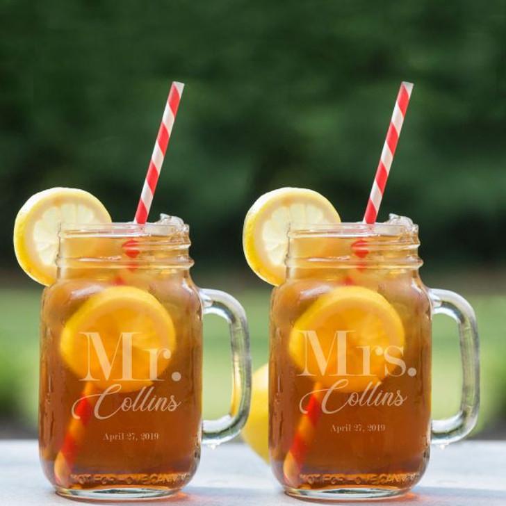Mr. & Mrs. Personalized Mason Mugs
