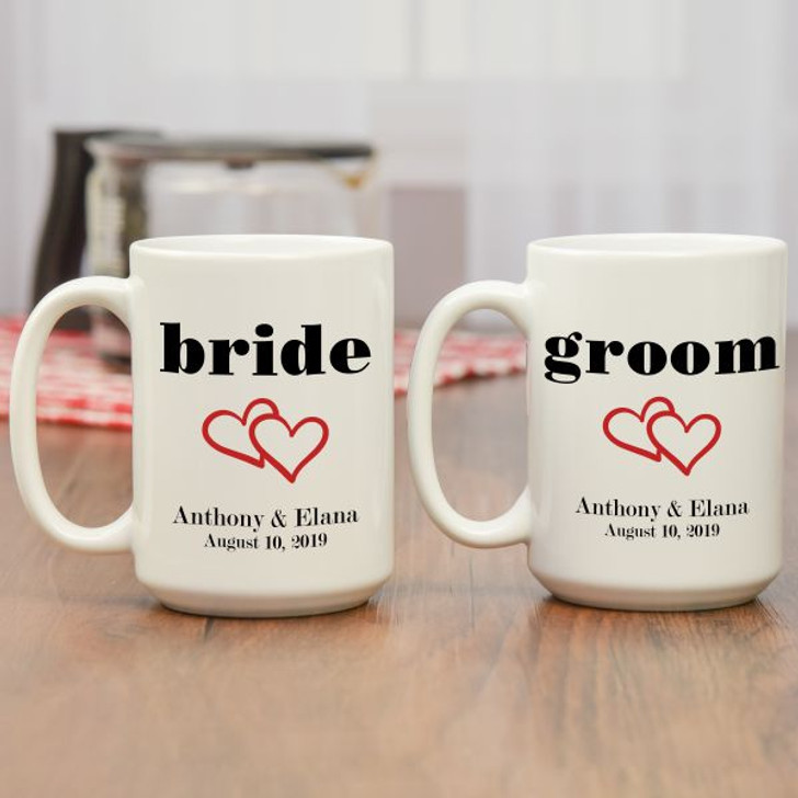 Personalized bride and groom coffee mugs