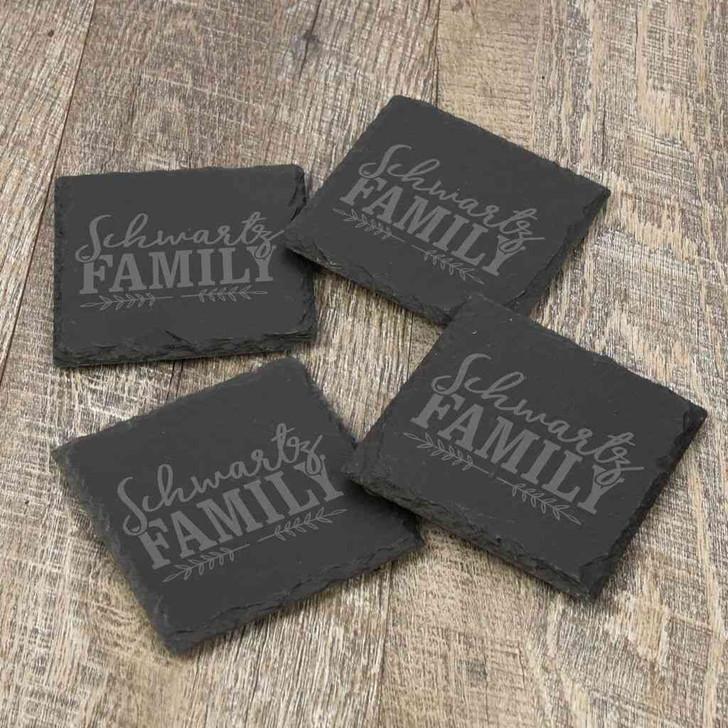 Family Name Personalized Slate Coasters