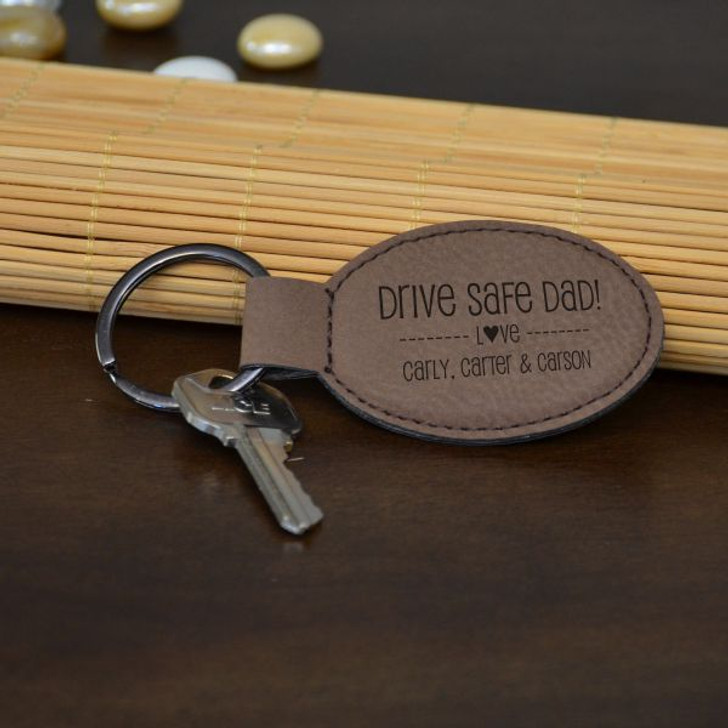 Drive Safe Dad  Key Chain Shown in Dark Brown