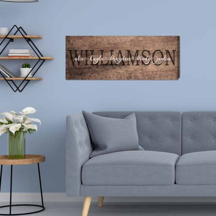 Custom wall canvas with family last name and first names