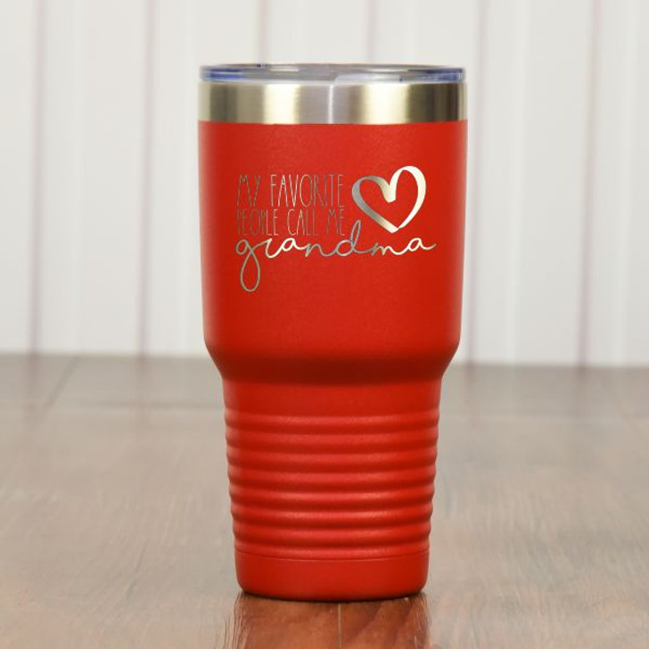 They Call Me Grandma Personalized Tumbler Red