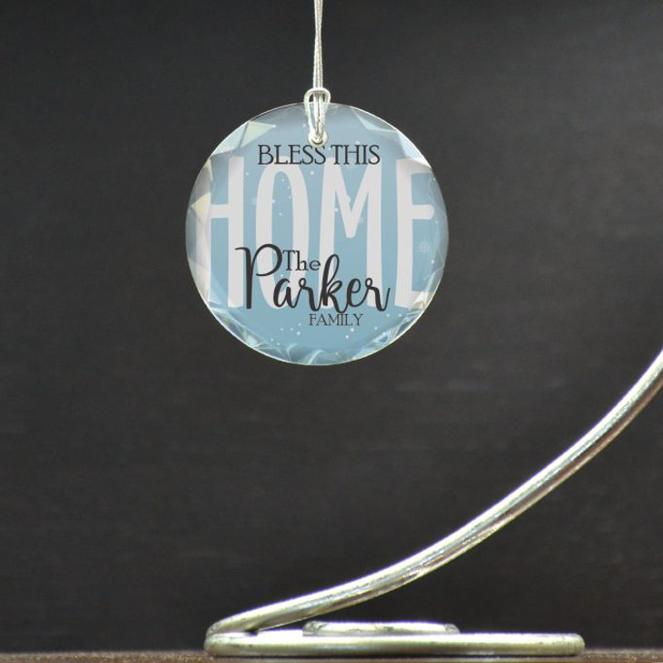 Bless this Home Ornament personalized with family last name