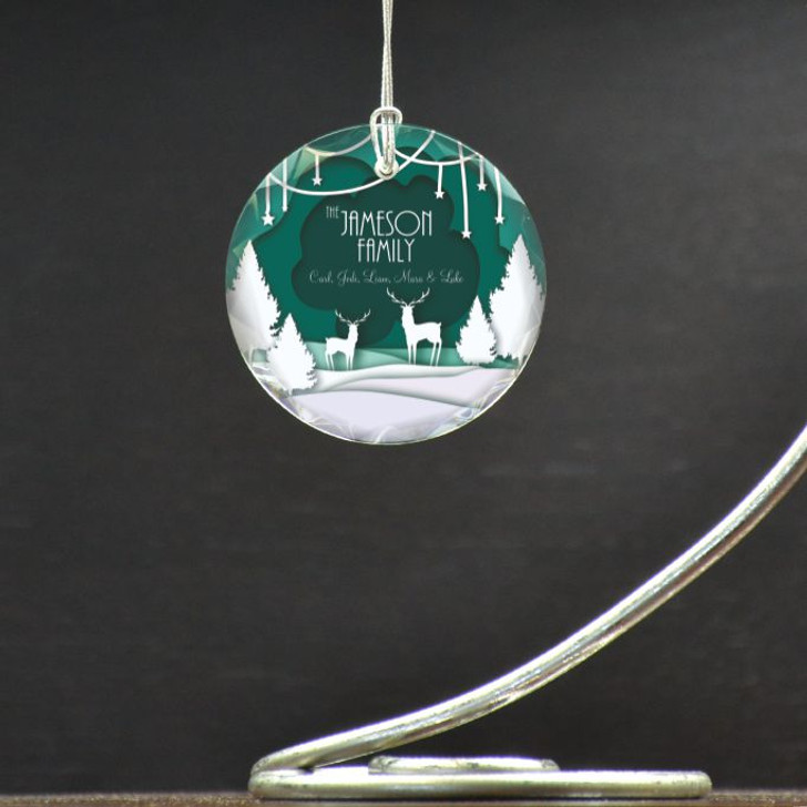 Personalized ornament with family last name and family members' first names