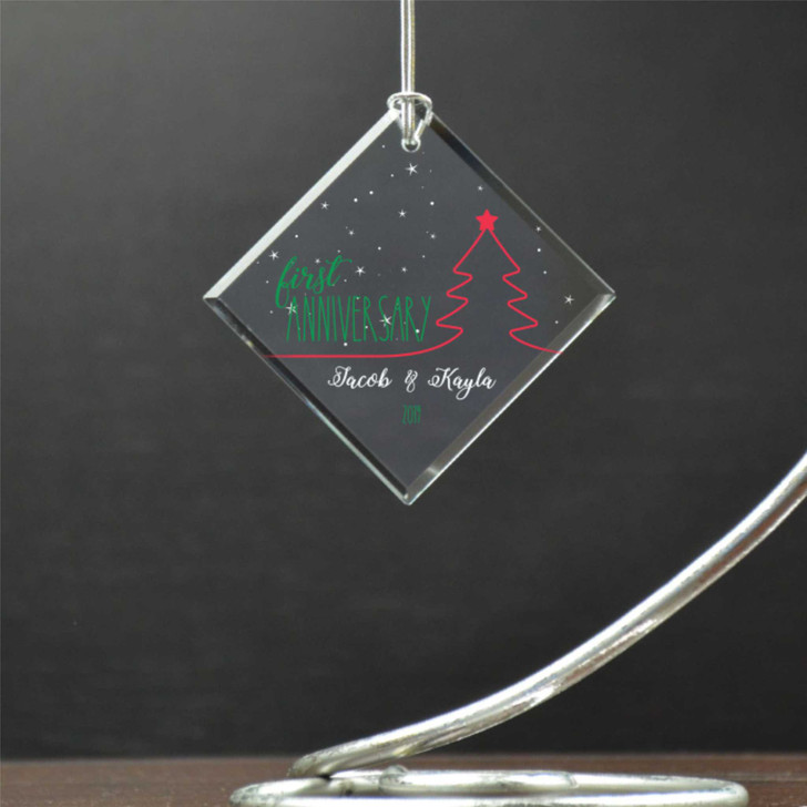 Celebrate your first anniversary as a couple this Christmas with this personalized ornament