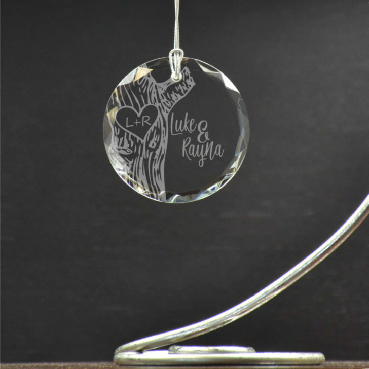 """True Love personalized ornament features couple's names with their initials """"carved"""" into a tree."""