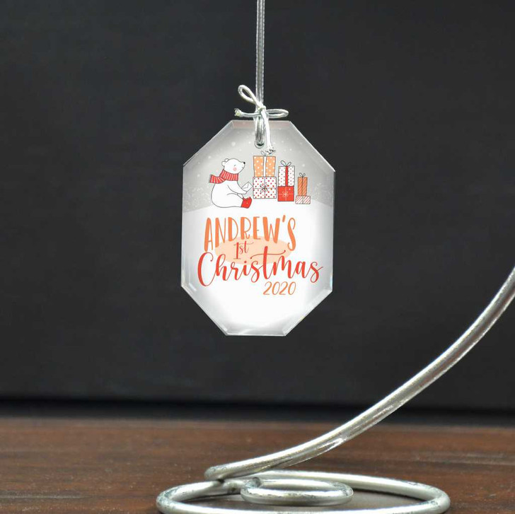Personalized Baby's First Christmas ornament has baby's name and a cute polar bear graphic.