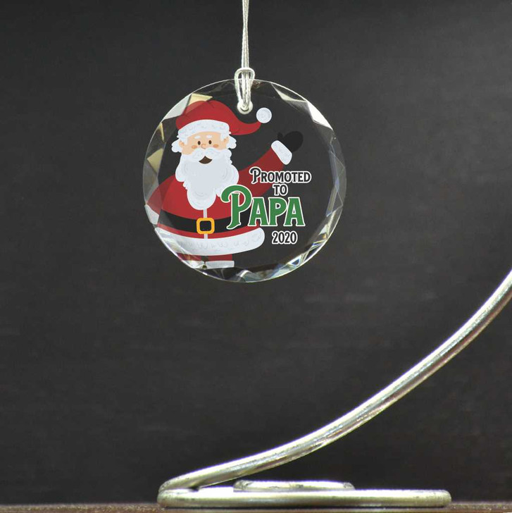 Tell your dad he's being promoted to grandpa with a personalized christmas ornament