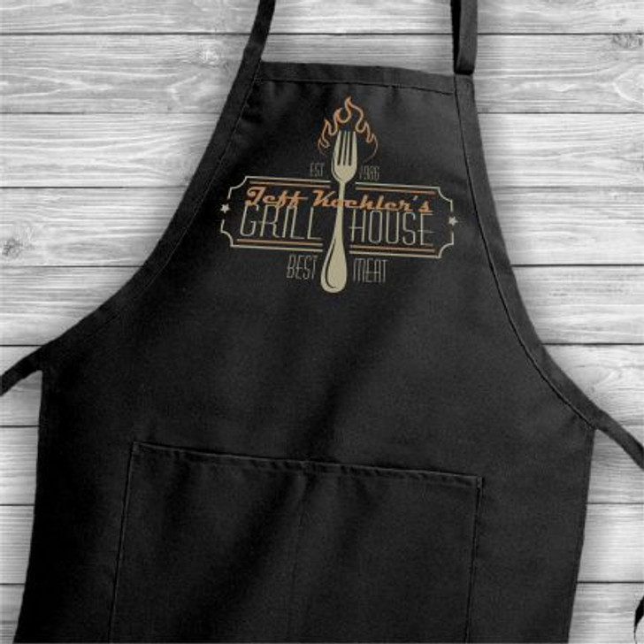 Personalized Apron for him has his first name and birth year built into the grill house logo