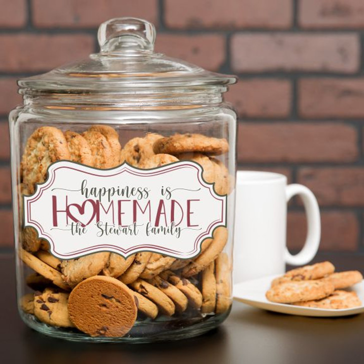 Happiness is Homemade cookie jar is personalized with family last name
